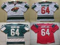 подлинные хоккейные трикотажные изделия фарфора оптовых-Аутентичные Дешевые Minnesota Wild Jerseys # 64 Микаэль Гранлунд Джерси красный Белый Зеленый Оптовая Хоккей Трикотажные изделия Китай