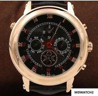 mondgesichtige uhren großhandel-Top-Qualitäts-neue Männer automatische Uhr Himmel Mond Sport Style Double Face-Leder-Mann-Armbanduhr freies Verschiffen