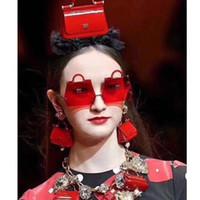 новые солнечные очки волны оптовых-Новый 2019 Модные сумки Flame Солнцезащитные Очки Женщины Мужчины Без Оправы Волна Солнцезащитные Очки Очки Роскошные Тенденции Узкие Классические поп солнцезащитные очки