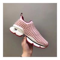 модные бахилы оптовых-2019 высокого класса высококлассные мужчины женщины модные кроссовки с красным дном бренд дизайнер натуральная кожа пара кроссовки покрыты заклепки