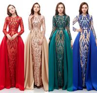 vestidos de renda vermelha escura venda por atacado-2019 Verde Escuro Vermelho Real Imagem Vestidos de Noite Vestir Mangas Compridas Lantejoulas Rendas Sereia Trem Desmontável Lantejoulas Plus Size Vestidos de Festa do baile de finalistas