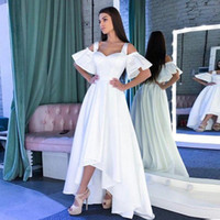 Wholesale off shoulder short high low gowns resale online - Fashion White Satin Midi Prom Dresses Off The Shoulder Satin High Low Party Dresses Custom Made Evening Gowns
