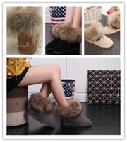 Wholesale ladies brown fur snow boots for sale - Group buy Fashion fox fur warm autumn and winter flat with snow women s shoes boots ladies boots casual snow shoes size