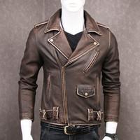 vintage кожаный мотоцикл куртка коричневый оптовых- DAMSON Vintage Brown Men's Short Biker Leather Jacket Plus Size XXXXXL Genuine Cowhide Slim Fit Motorcycle Leather Coat