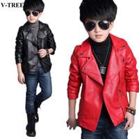Wholesale pu jackets for children resale online - Winter Children Outerwear PU Jackets For Boys Leather Parkas For Girl Teenager Windproof T Baby Windbreaker Kids Coats
