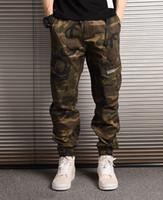 Wholesale trouser online - Brand New Mens Pants Fashion Camouflage Joggers Pants Men Women Zipper Overalls Beam Foot Trousers Irregular Jogging Pants