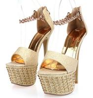ботинки для обуви на высоком каблуке оптовых-New  Women 16cm Ultra Thin High Heel Sandals Fashion Rhinestone Ladies Evening Party Shoes Wedge Platform Sandals YN