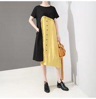 gelbes schwarzes patchworkkleid großhandel-Neue 2019 koreanische Art-Frauen Sommer-gerades Kleid-Schwarz-Gelb-Patchwork-Damen-einzigartige Midi-Kleid-beiläufige Art-Robe Femme F804
