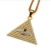 14k collier égyptien or achat en gros de-Or Illuminati Eye Of Horus égyptien pyramide avec 23.6 pouces chaîne pour les hommes / femmes collier pendentif bijoux Hip Hop Livraison gratuite WL897
