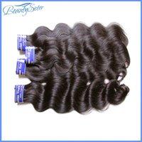 peru saç ürünleri vücut dalgası toptan satış-Beautysister saç ürünleri 9a perulu remy İnsan saç uzatma vücut dalga 4 paketler 400g lot işlenmemiş bakire saç örgü paket paket color1b