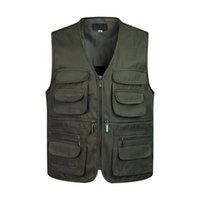 Wholesale photographer multi pocket vest for sale - Group buy Men Multi Pocket Classic Waistcoat Male Sleeveless V Neck Unloading Solid Coat Work Vest Photographer Tactical Masculino Jacket