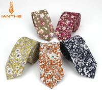 Wholesale mens ties flowers for sale - Group buy Mens Necktie Cotton cm Print Flower Slim Ties Men Fashion Necktie Wedding Party Dress Neck tie Corbatas Gravata man