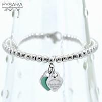 bracelet cercle carré achat en gros de-Fysara Marque de luxe Balles Eternal Double Coeur Bracelet en perles pour les femmes Couple Vert Rose Charm Bracelets C19041201