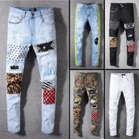 desgaste de los vaqueros de la calle de los hombres al por mayor-2019 de calidad superior marca famosa diseñador jeans hombres moda calle desgaste para hombre biker jeans hombre pantalones AZ