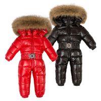 mono blanco niño al por mayor-Niños de invierno 90% Pato blanco Abajo Mamelucos Niños Gran piel natural con ropa con capucha Niñas Espesar Mono 2-6y Niños Traje de nieve