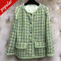blazers de señora verde al por mayor-Diseño de marca 2019 Otoño Invierno Mujeres Green Plaid Tweed Abrigo de Lana Blazer Office Lady Elegante Un Solo Pecho O-cuello Abrigos Jc3238