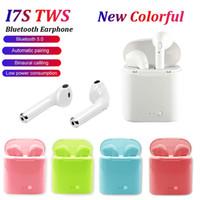 kablosuz bluetooth toptan satış-Tüm Akıllı Telefon İçin Kutu Mic Şarj ile i7 I7S TWS Kablosuz Bluetooth Kulaklık Stereo 5.0 Earbud Kulaklık Twins Kulaklık