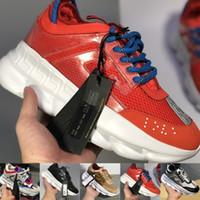 цепи для обуви оптовых-Chain Reaction Повседневные дизайнерские кроссовки Спортивная мода Повседневная обувь Тренер Легкая подошва с тиснением и пылевой сумкой