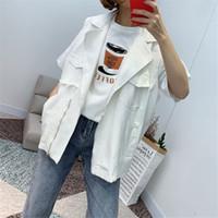 marineblaue pelzweste großhandel-Frühling und Sommer New Style Bottom Seitentasche Anzug sammeln Arbeitskleidung Cowboy Girl Fashion Female Beliebte Trend Style jooyoo