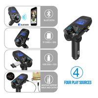 bluetooth auto lcd al por mayor-T11 Pantalla LCD Bluetooth Manos Libres Coche Auto Kit Cargador USB Transmisor FM Inalámbrico Modulador de FM Tarjeta TF Audio Reproductor de música con paquete