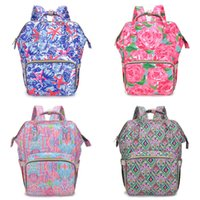 Wholesale baby diapers designs for sale - Group buy Floral Mummy Backpacks Design Flamingo Printing Baby Diaper Backpacks Mommy Feeding Bags Nappy Mother Maternity Backpacks Diaper Bags