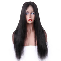 Wholesale real human hair wigs for sale - 2019 New Fashion Brazilian real human remy virgin hair swiss lace front Straight Wigs