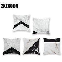 Wholesale black white grey home decor resale online - Black and White Marble Texture Pillow Covers Decorative Polyester Cushion Cover for Sofa Home Bedroom Decor x45cm
