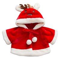abrigo de bebé de venado al por mayor-2019 nuevos niños de los bebés de vestir exteriores de dibujos animados de Navidad ciervos con capucha capa de invierno ropa de abrigo Coat