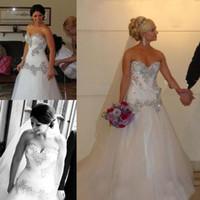 plus größenweinlese-korsettkleid großhandel-Vintage 2019 A-Line Perlen Kristalle Tüll Brautkleider Schatz Hals Korsett Lace-up Zurück Plus Size Brautkleider Günstige Vestidos De Novia