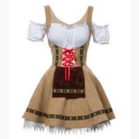 mädchen kostüme für mädchen großhandel-Sexy Oktoberfest Bier Mädchen Kostüm Maid Wench Deutschland Bayerische Kurzarm Kostüm Dirndl Für Erwachsene Frauen