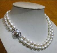 akoya perlen barock großhandel-2 reihige 10-11 MM AKOYA REAL WHITE BAROQUE PERLENKETTE 19-20