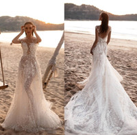 Wholesale wedding dresses floral designs resale online - 2019 Summer Beach Boho Wedding Dresses Milla Nova New Designed Lace Fitted Sexy Backless Long Bridal Gowns Formal Vestidos