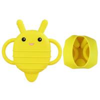 abejas juguetes blandos al por mayor-Mordedor de silicona para bebé de abeja con bolsillo de almacenamiento Atrás Fácil Mantener Suave Calmante Libre de silicona Dentición Juguete Sensorial Regalos infantiles