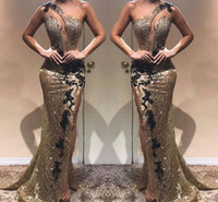 robe de soirée longue noire achat en gros de-Côté élégant robes de soirée split sirène une épaule argent réfléchissant avec noir paillettes longues robes de soirée de célébrité robe de bal BC1440