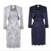 chaquetas de satén al por mayor-Plata, azul marino, encaje, madre de la novia, vestidos con chaqueta, lentejuelas, cuentas, raso, longitud de la rodilla, vestidos de noche cortos