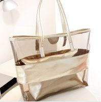 Wholesale pvc plastic handbags resale online - Belle2019 Rui Man Woman Plastic Handbag Transparent Sandy Beach Child And Mother Package Jelly Single