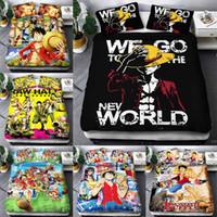 Wholesale european pillowcase size resale online - One Piece twin king size designer Bedding Set luxury d Cartoon animation Duvet Cover Sets Pillowcase