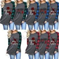 camisas do natal t mais o tamanho venda por atacado-Plus Size Mulheres Santa Claus Blusa Esporte Tops da árvore de Natal do boneco de neve Elk Impressão T-shirt T da manta de retalhos Sueter C112702