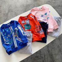 kleinkind t-shirt druck großhandel-Kleinkind Kind Baby Mädchen Kleidung Langarm gedruckt T-Shirt + Hosen Trainingsanzug Outfit Kinder Kleidung Frühling Herbst Kinderkleidung