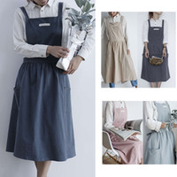 Women Apron Pleated Skirt Design Cotton Uniform coverall Aprons with two pocket Cooking Baking cleaning Cafe Shop apron Home Kitchen clothes