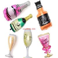 douche de bébé fournitures livraison gratuite achat en gros de-Livraison gratuite Champagne Coupe Bière Bouteille Ballons Feuille D'aluminium Ballon Ballons D'hélium D'anniversaire De Mariage Baby Shower Party Decor Fournitures