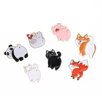 dekor için süslemeler toptan satış-Broş Süsler Panda Tavuk Tilki Kediler, Köpekler, Pembe Domuzlar Hayvan Yağı Damlayan Broş Rozeti Süslemeleri