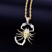 Wholesale gold scorpion pendant necklace resale online - Animal Scorpion Hip Hop Pendant With Tennis Chain Gold Silver Color Bling Cubic Zircon Men s Necklace Jewelry For Gift