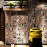 старинные металлические обои оптовых-Vintage personality industrial style wallpaper letters wrought iron metallic bar cafe restaurant clothing store LOFT wall cover
