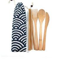 cubiertos de madera utensilios al por mayor-Viaje de bambú Utensilios Set de cubiertos Eco -Friendly de madera al aire libre portátil Utensilios de Basura Cero de bambú cubiertos conjunto
