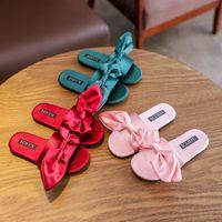 ingrosso grandi pantofole per bambini-Sandali di seta Big Bow ragazze delle neonate 2019 New Fashion Fashion bambini Pantofola bambini ragazze scarpe 3 colori
