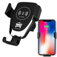 hava cihazları toptan satış-Kablosuz Araç Şarj 10 W Hızlı Kablosuz Şarj Araç Montaj Hava Firar Yerçekimi Tasarım Telefon Tutucu iphone samsung için tüm tüm Qi Cihazları