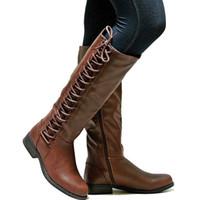 botas de rodilla de cordones al por mayor-Botas altas de moda para mujer Botas hasta la rodilla sexy con cordones Motocycle Zapatos de tacón plano Mujer Invierno Mujer Botas Mujer 43