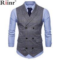 colete formal para homem venda por atacado-Novas Coletes Vestidos chegada para homens Slim Fit Mens Suit Vest Masculino Colete Gilet Homme mangas Casual Jacket Formal Negócios