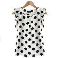 blusa de gasa negra para niñas al por mayor-Chica de moda puntos blusa de las mujeres camisa de gasa ocasional sin mangas de la colmena camisa de manga de verano Tops Negro Blanco Colores Pus Tamaño XL